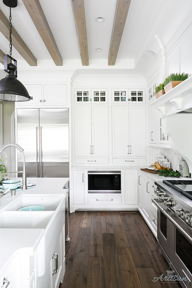White Kitchen Dark Hardwood flooring and bleached ceiling beams White Kitchen Dark Hardwood flooring and bleached ceiling beams White Kitchen Dark Hardwood flooring and bleached ceiling beams White Kitchen Dark Hardwood flooring and bleached ceiling beams