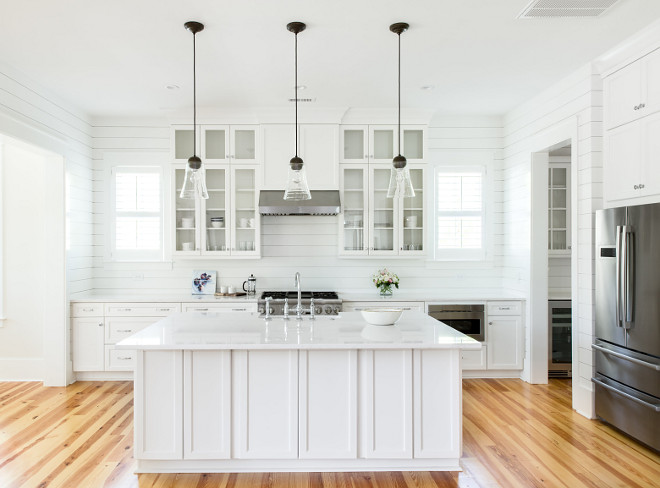 White Farmhouse Kitchen with floor-to-ceiling shiplap