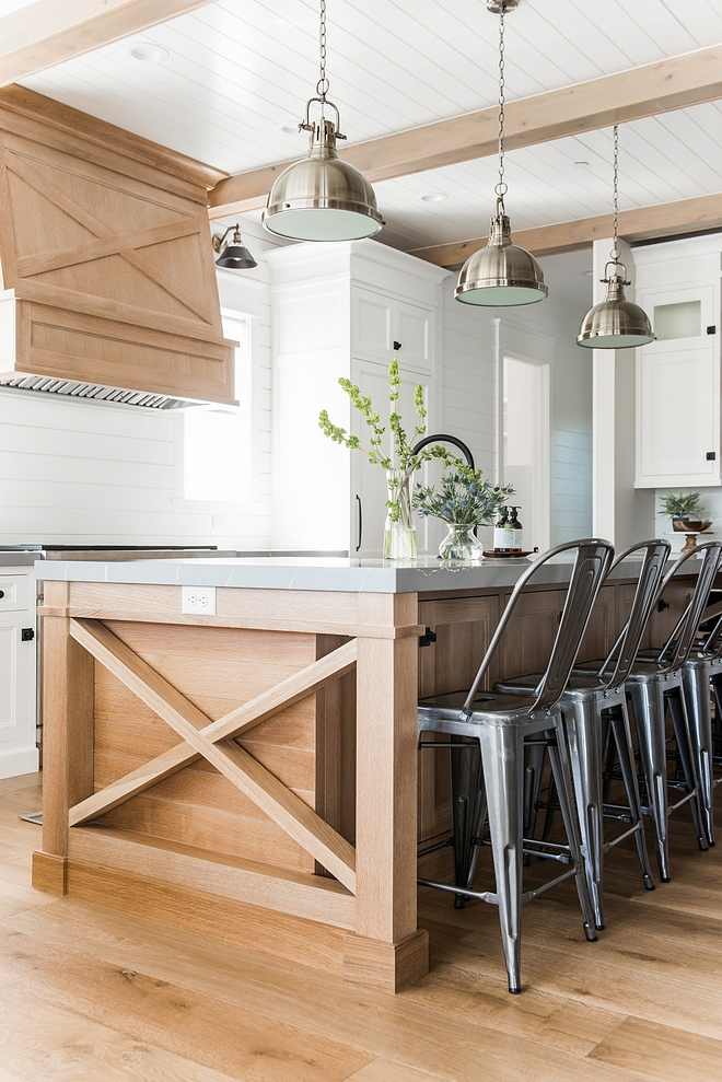 x kitchen island sides with shiplap The White Oak kitchen island mimics the hood, also featuring x sides with shiplap x island sides with shiplap