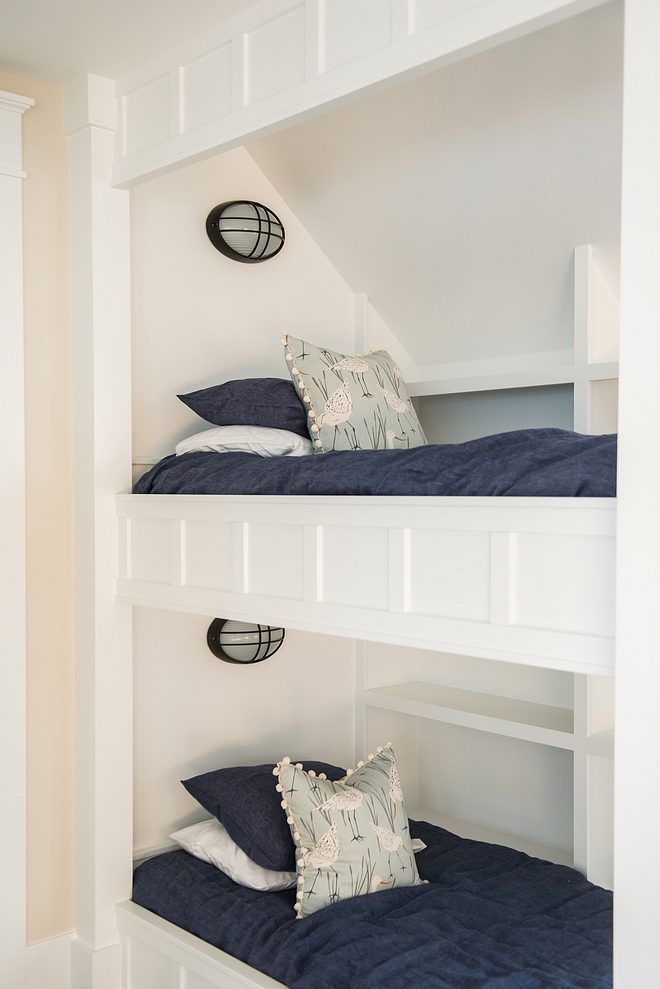 Bunk beds Custom bunk beds bunk room Each bunk features its own wall sconce and bookshelves