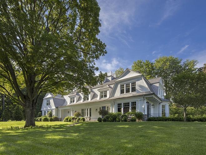 Gambrel Home with white siding White Gambrel Home Gambrel Home