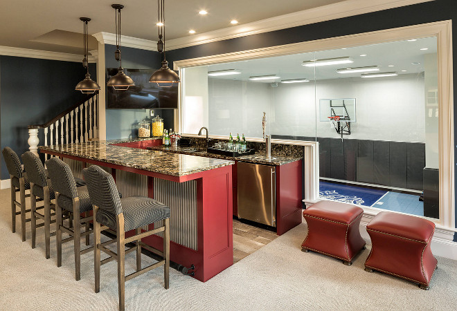 Basement Bar with view to indoor basketball court
