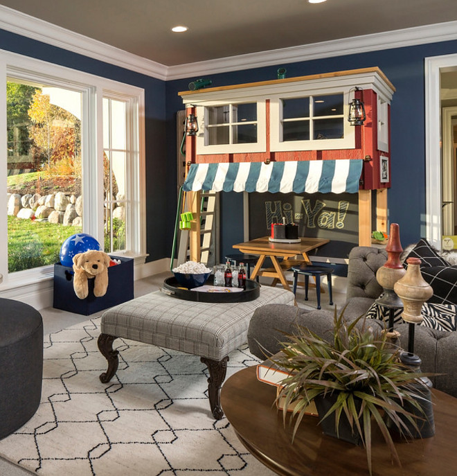 Basement Family Room Playroom with custom playhouse