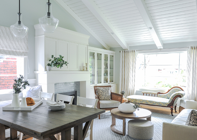 Benjamin Moore Cloud White False beams and 6' tongue in groove paneling painted in Cloud White by Benjamin Moore