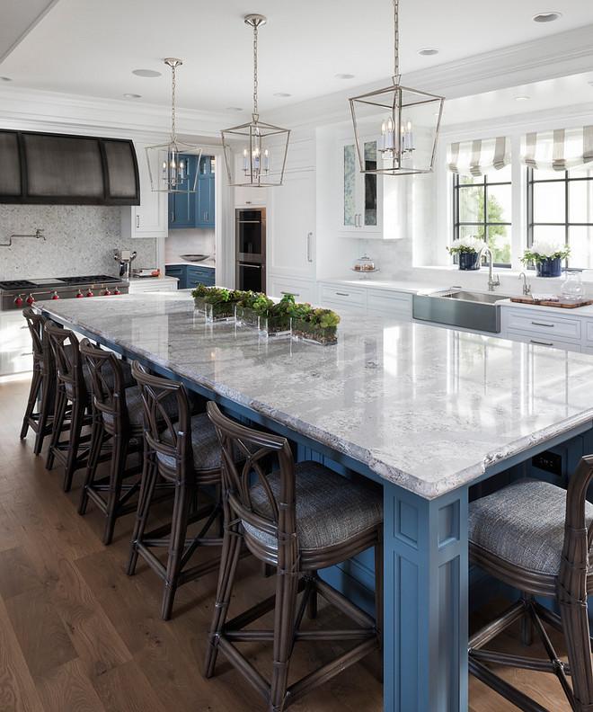 Blue kitchen island Blue kitchen island with quartz countertop Blue kitchen island