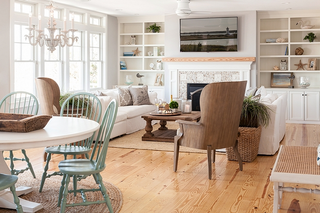 Coastal Interiors Coastal interiors with wide plank hardwood floors, soothing light paint color and neutral decor #coastalinteriors #coastalhomes #coastal