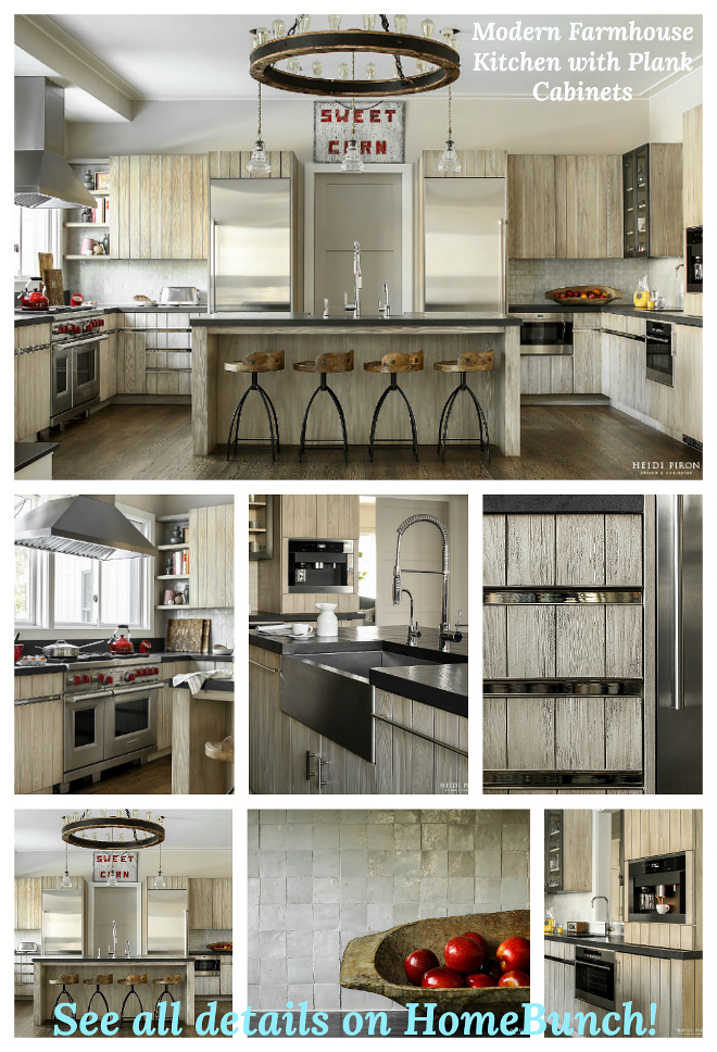 Modern Farmhouse Kitchen with Plank Cabinet sources on Home Bunch