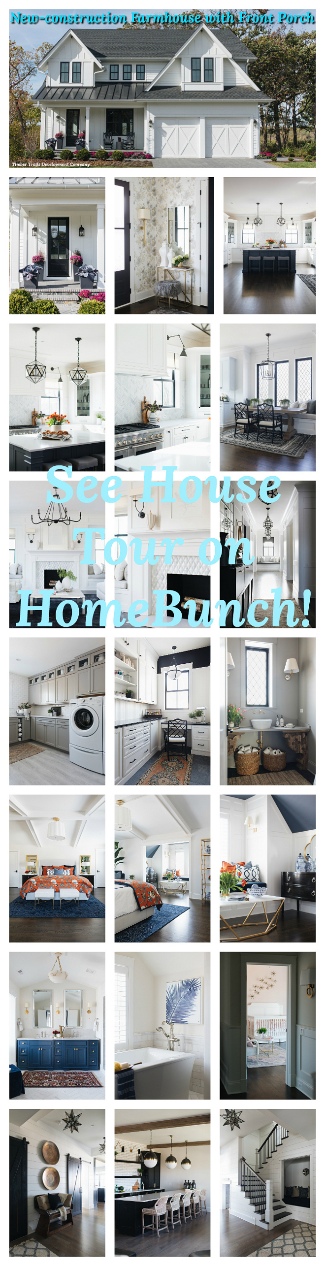 New-construction Farmhouse with Front Porch see house tour on Home Bunch