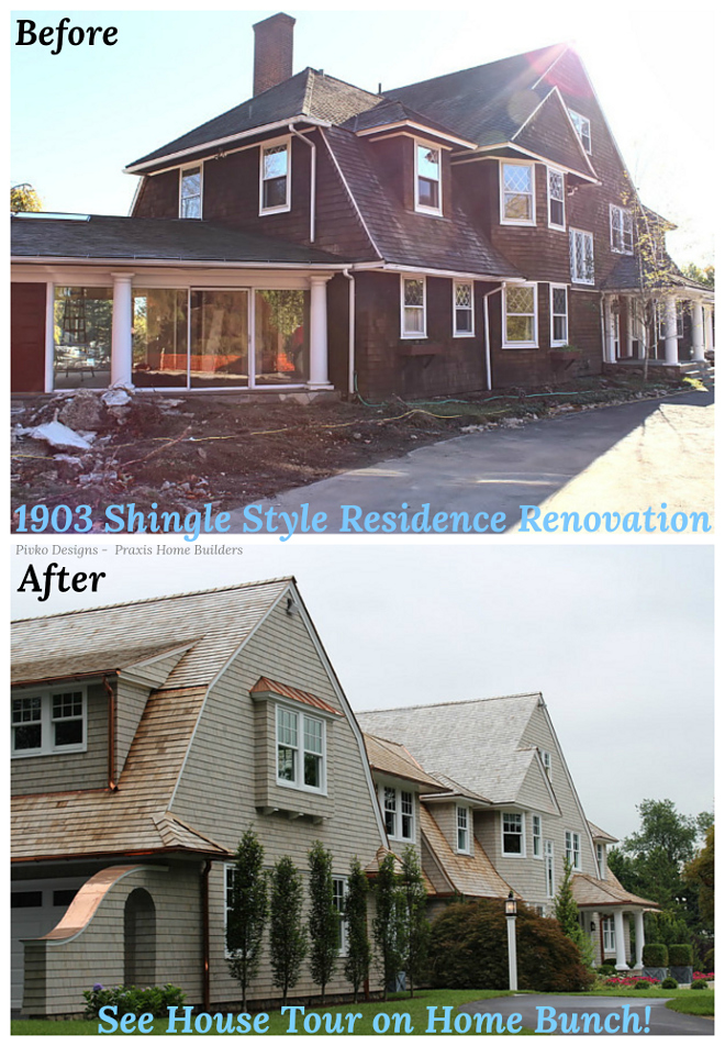 Classic New Canaan Shingle Home Before and After Renovation Pictures