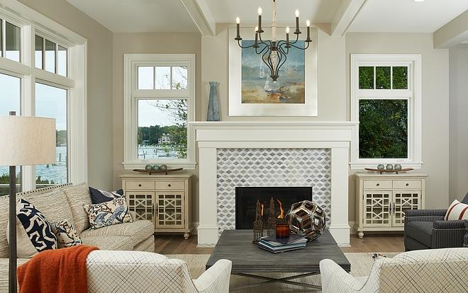 Windows flanking Fireplace Living room fireplace with windows #livingroom #fireplacewindow #fireplace #windows