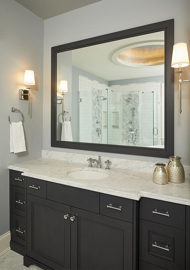 Benjamin Moore Mysterious Bathroom Vanity and mirror frame are painted in Benjamin Moore Mysterious #BenjaminMooreMysterious #bathroom #vanity #mirrorframe #paintcolor