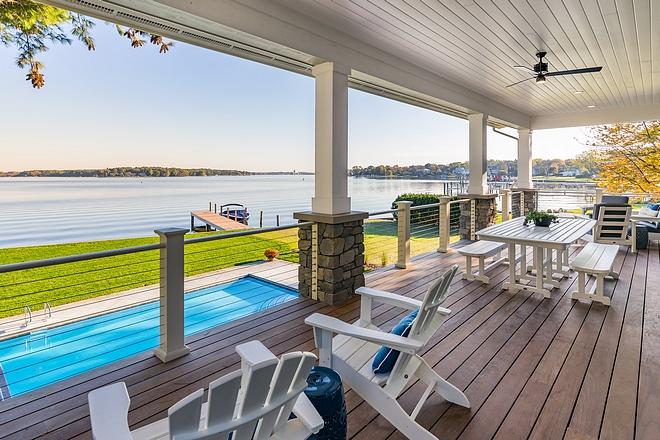 Deck with backyard pool and lake views