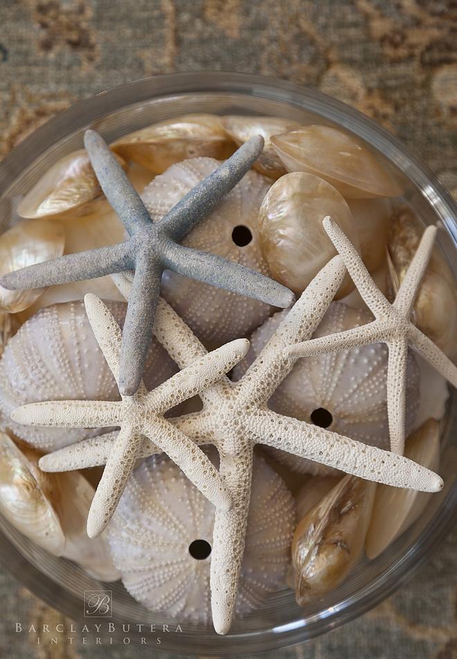 Bowl with starfish and shells home decor