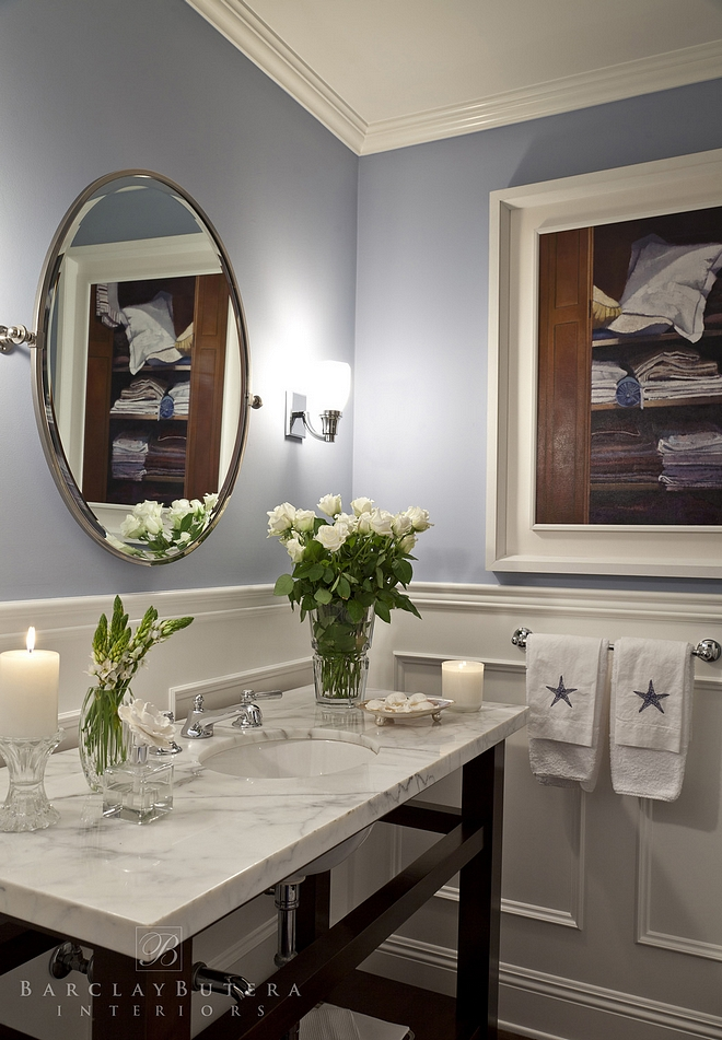 Restoration Hardware Shore Paint Color Restoration Hardware Shore Restoration Hardware Shore Blue Bathroom Paint Color This color looks beautiful with the white wainscoting and the white marble