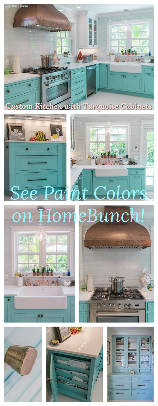 Custom Kitchen with Turquoise Cabinets Paint color and sources on Home Bunch