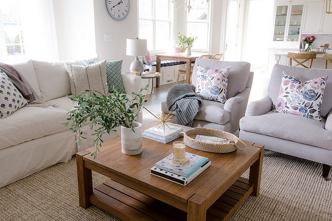 Wood coffee table wood coffee table sources on Home Bunch wood coffee table with jute runner #woodcoffeetable