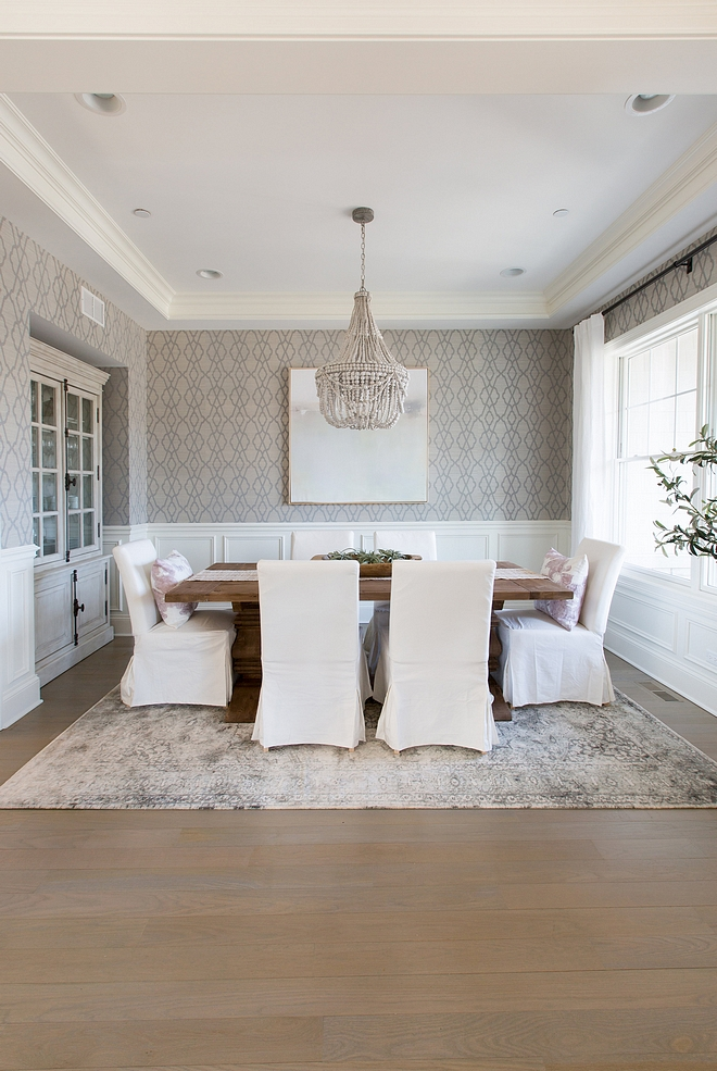 Dining room Dining Room Ideas New Decor Dining room wallpaper chandelier all sources on Home Bunch I love the idea of hosting holidays in this dining room for years to come Believe it not the chairs are Ikea, slip covers make all the difference when it comes to dining with small children