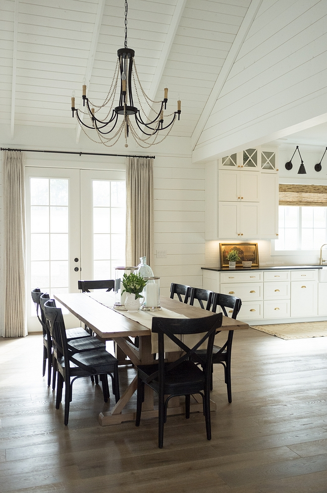Shilap Dining Room Chic farmhouse dining room with shiplap Farmhouse dining room is located between the kitchen and the living room sources on Home Bunch