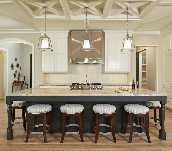 Off white kitchen with charcoal gray island Kitchen cabinet and kitchen island color scheme #kitchencabinets #kitchenisland #kitchencolorscheme