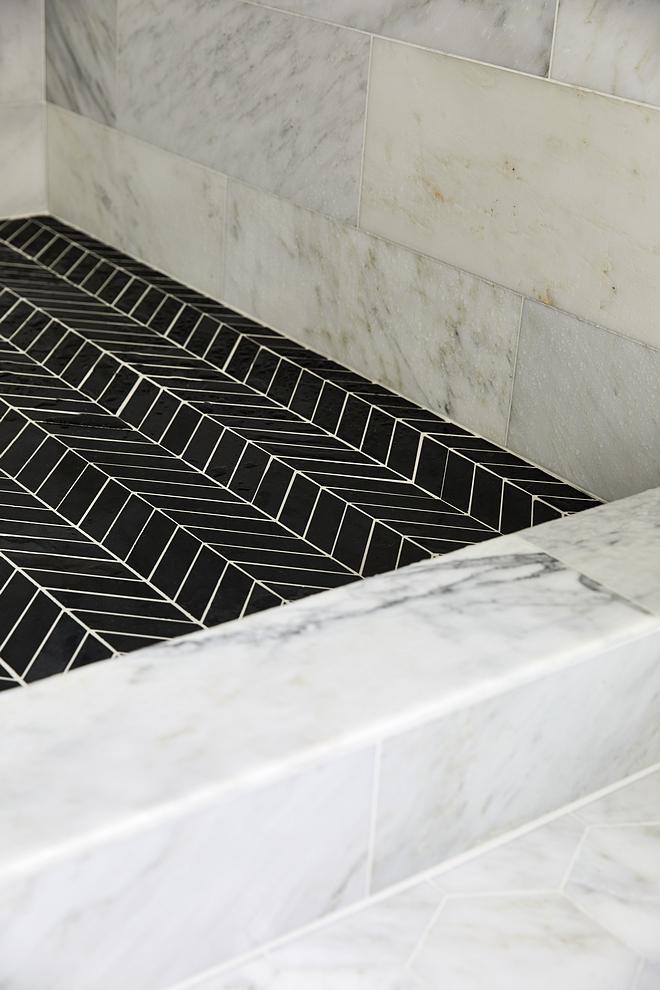 Carrara marble shower tile with black chevron shower floor tile 12 x 24 Carrara marble shower tile with black chevron shower floor tile #Carraramarbleshower #showertile #blackchevrontile #showerfloortile #floortile