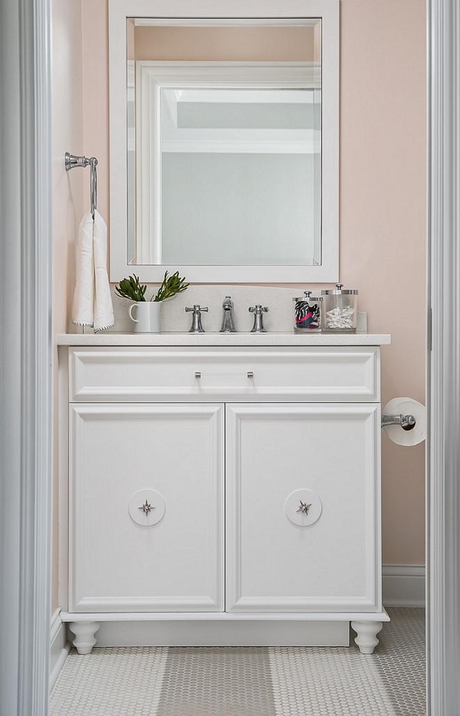 BM White Heron Bathroom vanity is custom and painted in BM White Heron BM White Heron #BMWhiteHeron