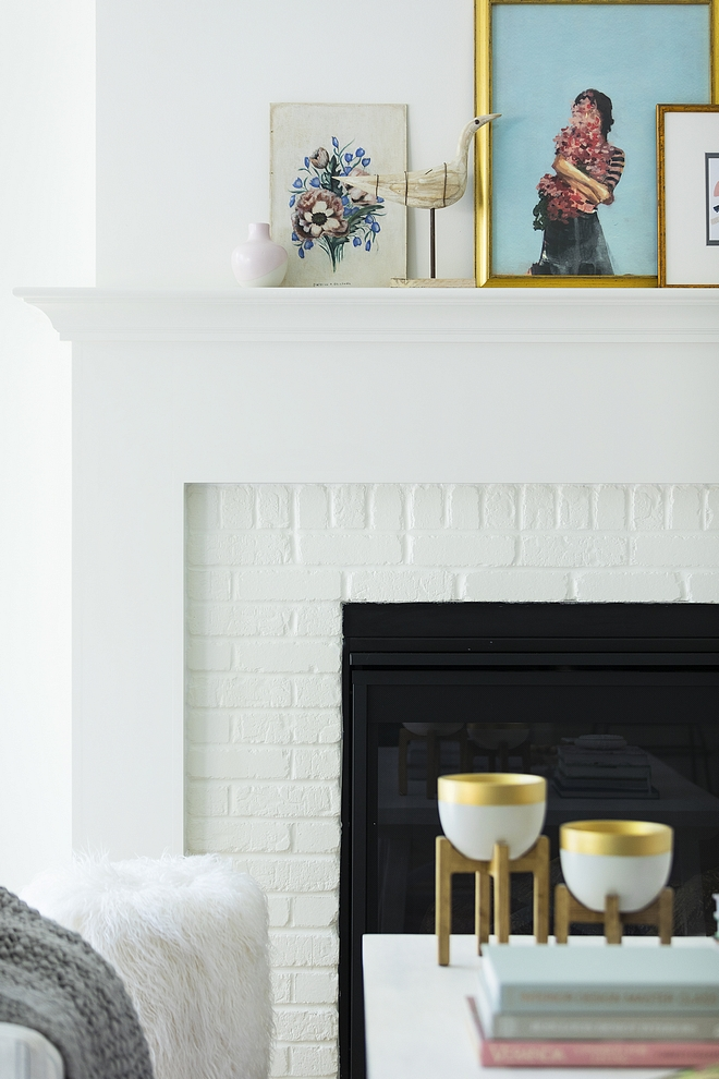 Painted Brick Fireplace Paint Color The painted brick fireplace paint color is White Dove by Benjamin Moore #paintedbrick #paintedbrickfireplace #paintcolor #WhiteDovebyBenjaminMoore