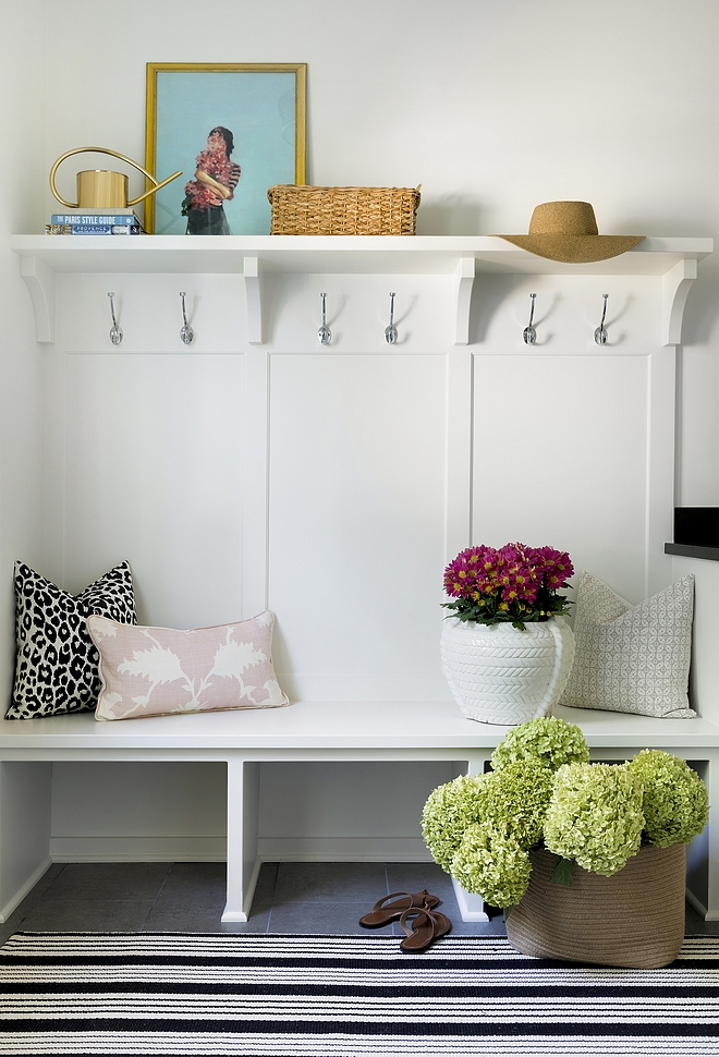 Mudroom Bench and shelf Simple and inexpensive mudroom ideas Save money by not building lockers and just add a shelf hooks and a built in bench #Mudroom #MudroomBench #mudroomshelf