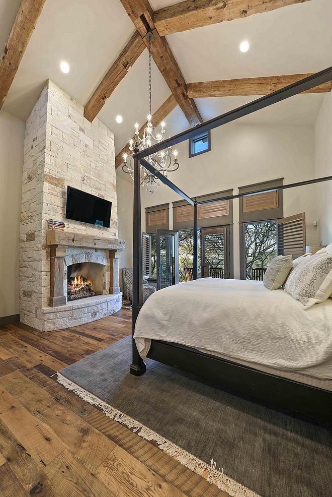 Bedroom Reclaimed Beams Bedroom Reclaimed Beams Bedroom Reclaimed Beam and stone fireplace with reclaimed wood mantel Bedroom Reclaimed Beam #Bedroom #ReclaimedBeams