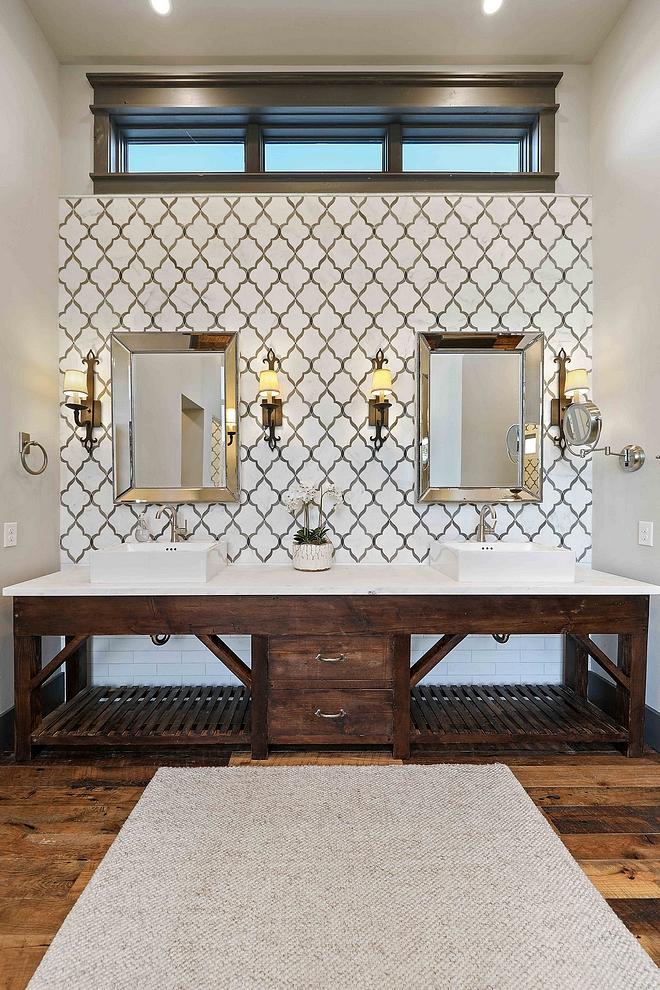 Bathroom features Walker Zanger tile and an antique vanity base cabinet Bathroom features Walker Zanger tile and an antique vanity base cabinet #Bathroom # WalkerZangertile #antiquevanity #rusticcabinet