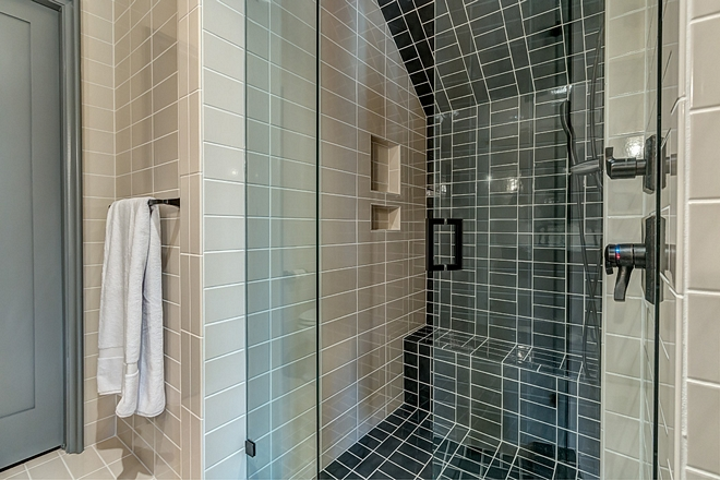 Bathroom Tile Ideas Floor and Walls Tile Walker Zanger Bone Bright 4x10 Shower Back Wall bench Pan and Curb Walker Zanger Robert AM Stern Deep Sea Long 3x6