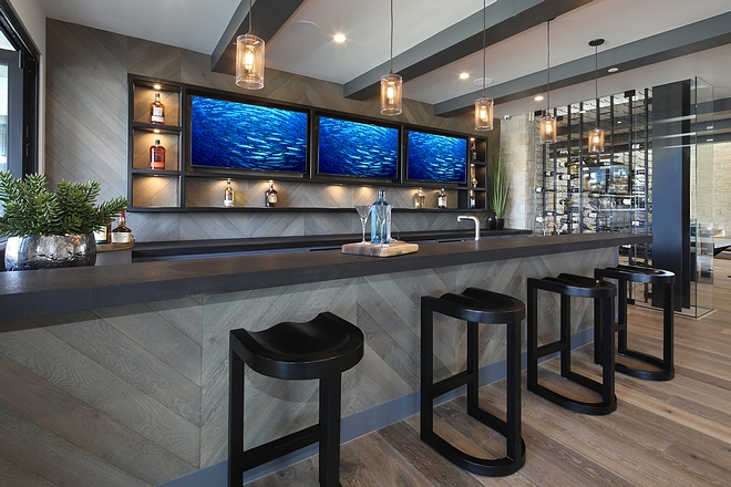 Bar Countertop Pierre Bleue Granite Chic Basement bar with multiple tvs chevron shiplap and Pierre Bleue Granite #Bar #Countertop #PierreBleue #Granite