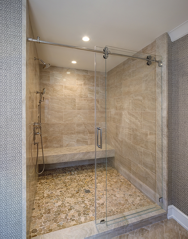 Shower floor is a natural pebble mosaic