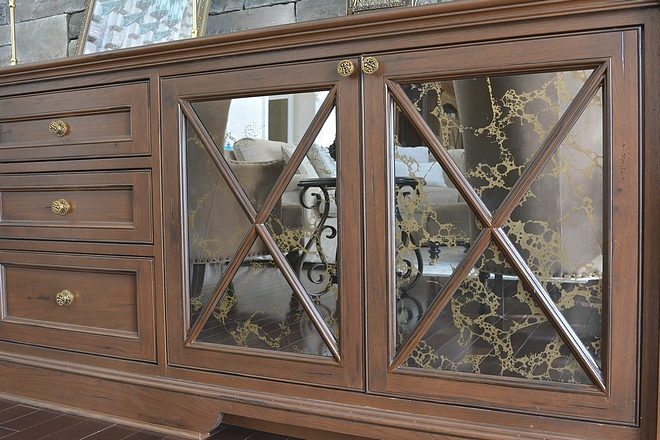Walnut built in cabinet with burnt gold mirrors Walnut built in cabinet with burnt gold mirror ideas Living room Walnut built in cabinet with burnt gold mirrors