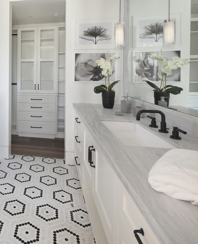 Bathroom Countertop Countertop is honed Solto White Marble 2cm slab with Mitered edge#bathroom #countertop