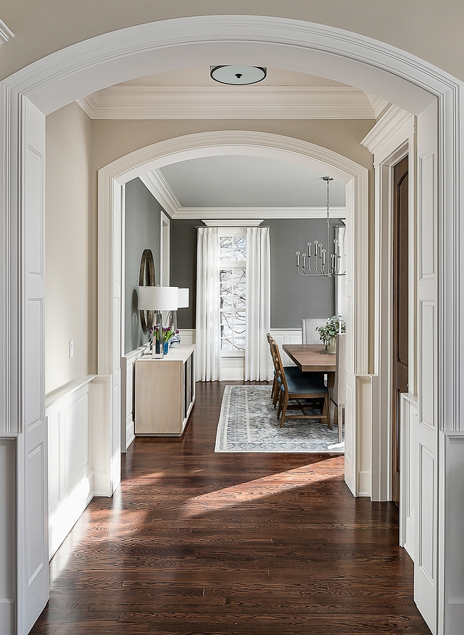 Benjamin Moore HC-172 Revere Pewter with Dark Hardwood Floors. Don't change dark hardwood floor change the wall color to Benjamin Moore HC-172 Revere Pewter to complement the dark hardwood floor color #benjaminmoorehc172reverepewter