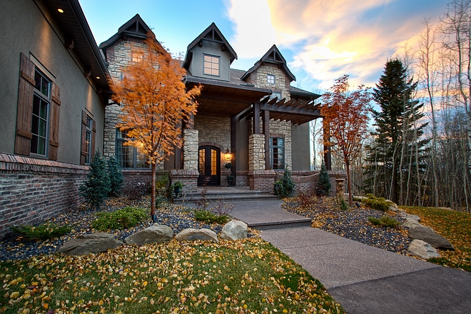 Exterior Brick Reclaimed brick exterior stone and stained Cedar Timber