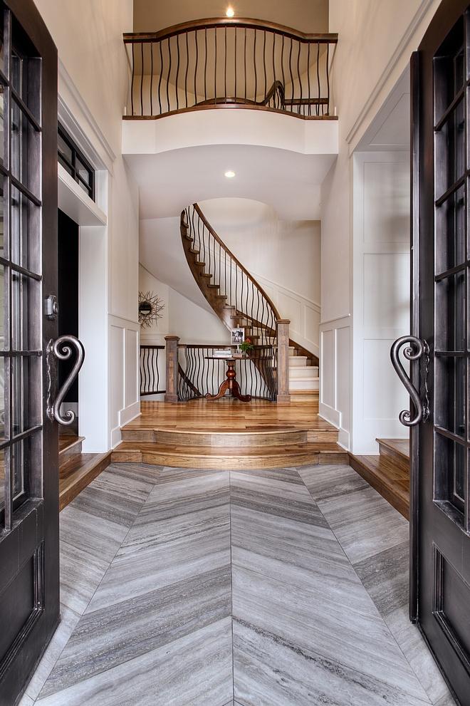 Chevron Tile Chevron Floor Tile Front entrance tile is a vein cut honed grey Limestone in a chevron pattern #chevrontile