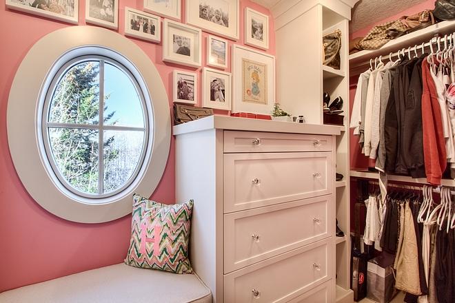Walk in closet cabinet window seat dresser built in dresser oval window