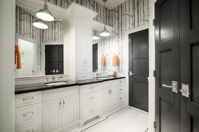 Jack  Jill Bathroom Black and white Jack  Jill Bathroom Jack  Jill Bathroom #JackJillBathroom