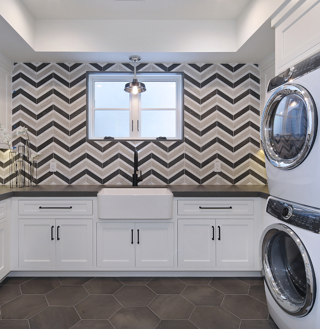 Laundry Room farmhouse sink and chevron tile Laundry Room Laundry Room Laundry Room #LaundryRoom #chevrontile