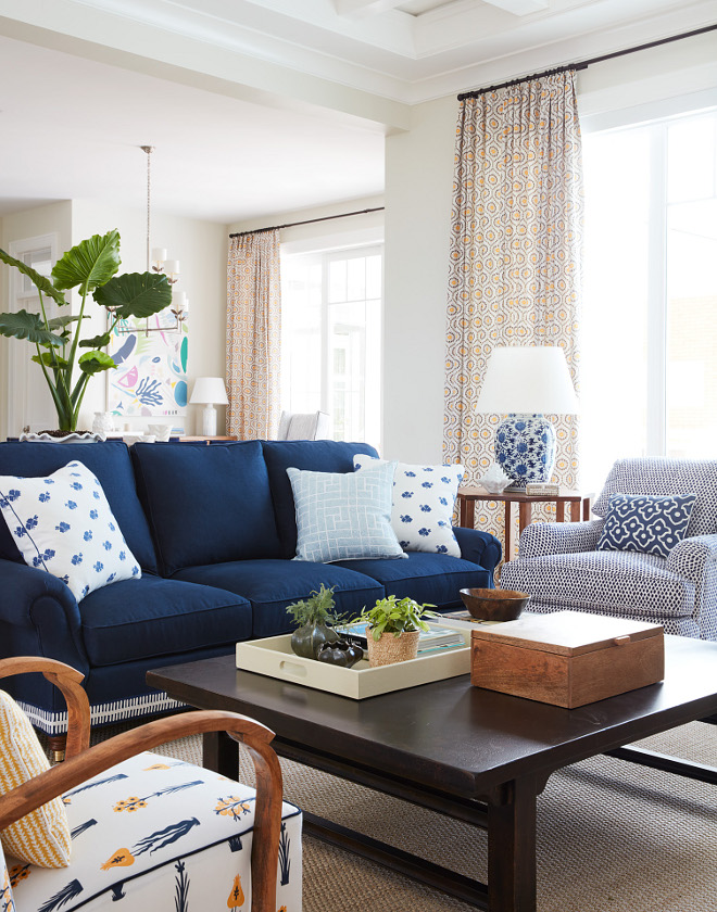 Living Room Blue and White Pillows