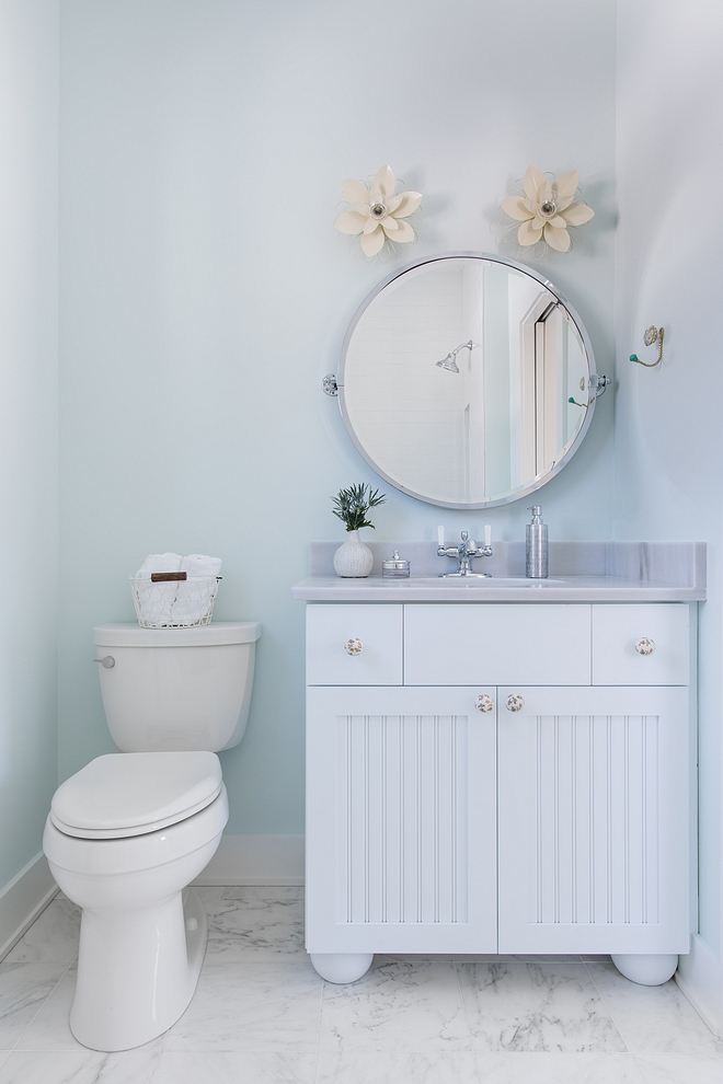 Sherwin Williams Glimmer soft blue bathroom paint color Sherwin Williams Glimmer #softblue #bathroompaintcolor #SherwinWilliamsGlimmer