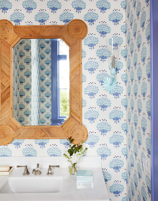 Powder Room Wallpaper Lavender Paint Color Benjamin Moore Persian Violet 1419 I am not making the case that lavender trim is going to start being a thing in powder rooms, but in a sense I kind of am I love taking an unexpected color out of a wallpaper and using it for the trim The Lotus wallpaper by Katie Ridder has always been a favorite of mine and is really perfect in almost any powder room or small space #BenjaminMoorePersianViolet #wallpaper #trim #paintcolor