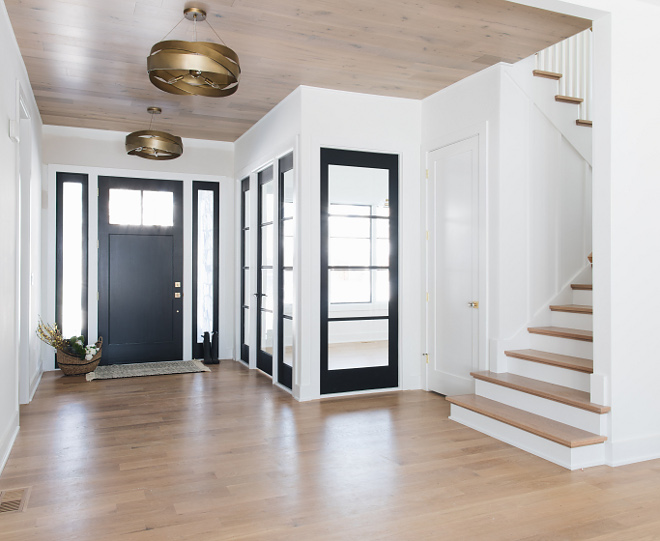 Wood ceiling Shiplap looking Ceiling Foyer Shiplap Ceiling The foyer ceiling features the same hardwood used on the floors #woodceiling #shiplap #hardwoodfloor #ceiling #hardwoodfloor ceiling