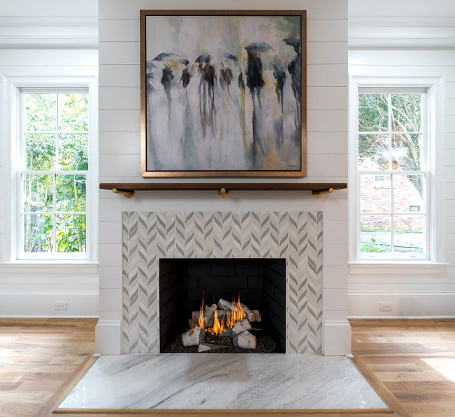 """Carrera marble hearth Custom tile surround 42"""" Isokern vent free natural gas fireplace Shiplap accent wall Sleek Mantel Ideas"""