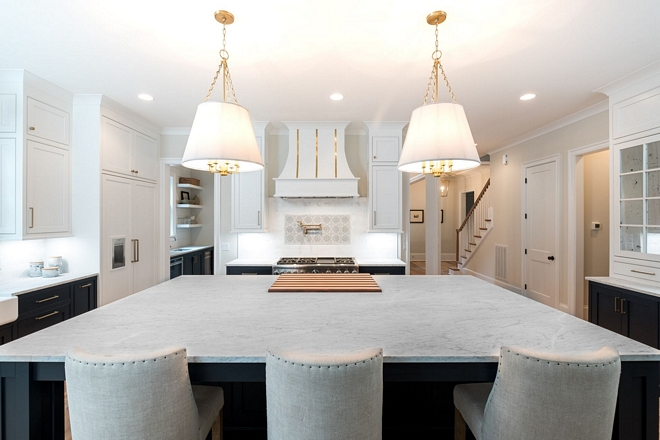 Kitchen Island The oversized island truly makes a statement and allows for plenty of room for cooking and entertaining #kitchenisland #kitchen #island