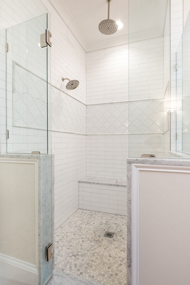 Shower 5 foot by 6 foot shower with built-in bench seat and dual heads one being a rain head #shower #showersize #showerdimensions