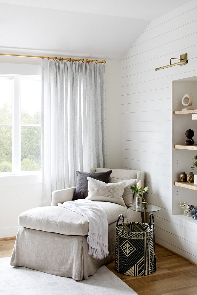 Bedroom sitting area farmhouse bedroom shiplap with slipcovered chaise and beautiful decor Bedroom sitting are Bedroom #bedroom #sittingarea #shiplap #bedroomsittingarea #chaise