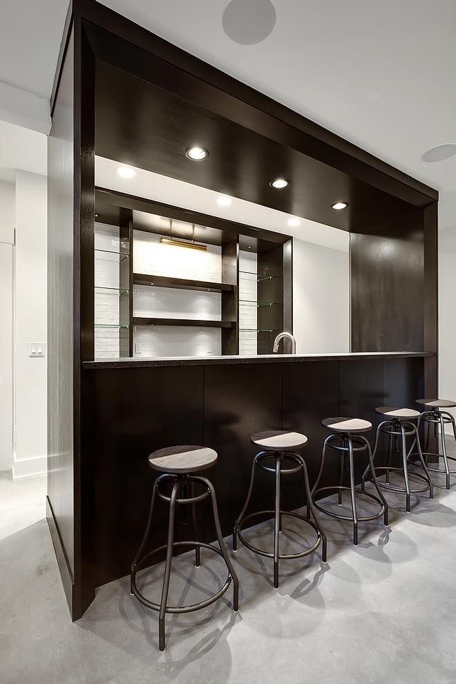 Basement Bar Custom built-on-site 1⁄4 sawn oak wet bar with granite countertop Basement Bar Basement Bar #BasementBar