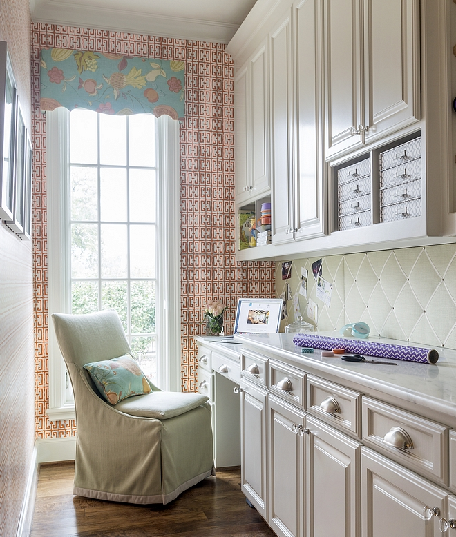 Small Home Office Small Home Office As you can see, you don't need much space to have a very useful room! The custom cabinets are SW Alabaster. Also, notice the upholstered board as backsplash #Smallhomeoffice #homeoffice #SWAlabaster